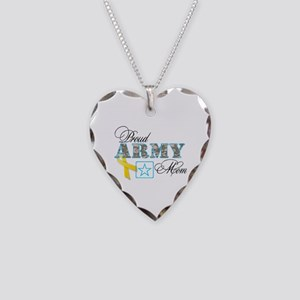 Proud Army Mom w/Ribbon Necklace Heart Charm