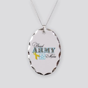 Proud Army Mom w/Ribbon Necklace Oval Charm