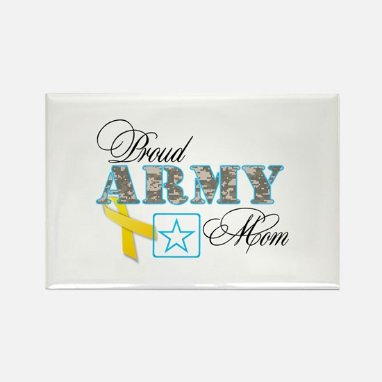 Proud Army Mom w/Ribbon Rectangle Magnet