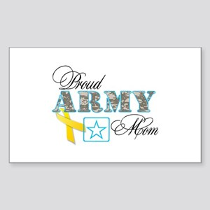 Proud Army Mom w/Ribbon Sticker (Rectangle)