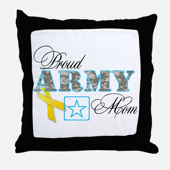 Proud Army Mom w/Ribbon Throw Pillow