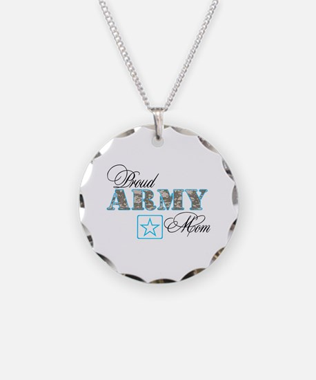 Proud Army Mom Necklace Circle Charm