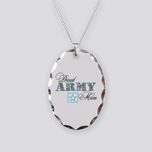 Proud Army Mom Necklace Oval Charm