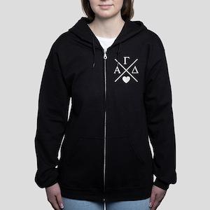 Alpha Gamma Delta Letters Cross Women's Zip Hoodie