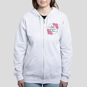alpha gamma delta floral Women's Zip Hoodie