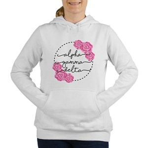 alpha gamma delta floral Women's Hooded Sweatshirt