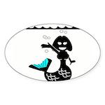 Cute Mermaid Muriel MacBubble Sticker (Oval 50 pk)