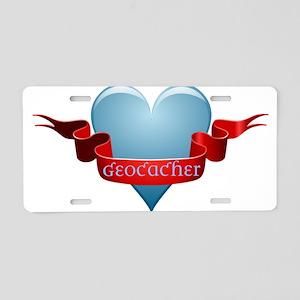 Geocacher Ribbon Aluminum License Plate