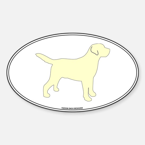 Yellow Lab Outline Oval Decal