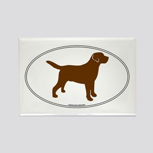 Chocolate Lab Outline Rectangle Magnet