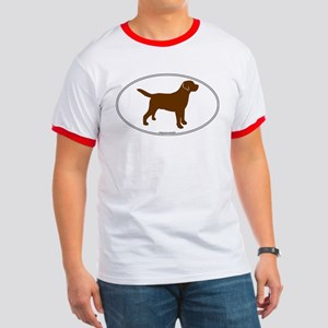 Chocolate Lab Outline Ringer T