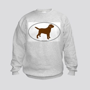Chocolate Lab Outline Kids Sweatshirt
