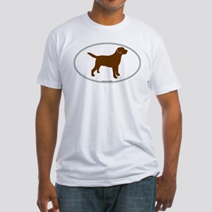 Chocolate Lab Outline Fitted T-Shirt