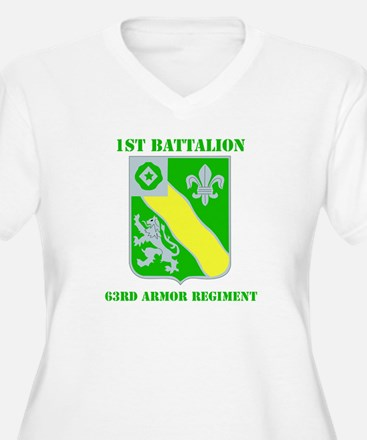 DUI - 1st Bn - 63rd Armor Regt with Text T-Shirt