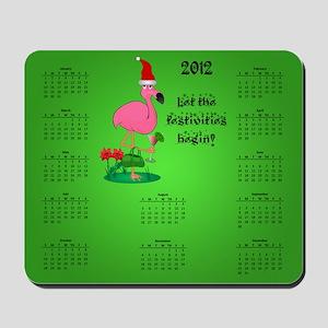 Christmas Flamingo Calendar Mousepad