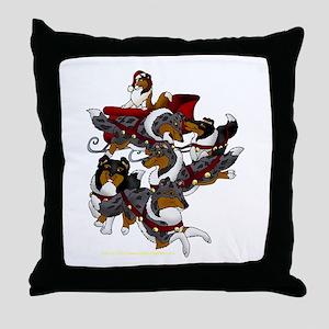 Collie Sleigh Throw Pillow