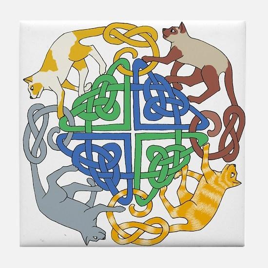 Four Cat Knot Tile Coaster