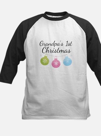 Grandpa's 1st Christmas Kids Baseball Jersey