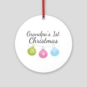 Grandpa's 1st Christmas Ornament (Round)