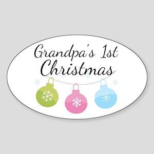 Grandpa's 1st Christmas Sticker (Oval)