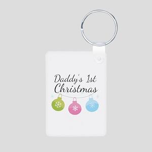 Daddy's 1st Christmas Aluminum Photo Keychain