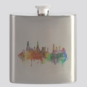 Chicago Skyline Watercolor Flask