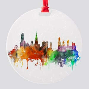 Chicago Skyline Watercolor Round Ornament