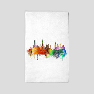 Chicago Skyline Watercolor Area Rug