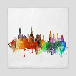 Chicago Skyline Watercolor Queen Duvet