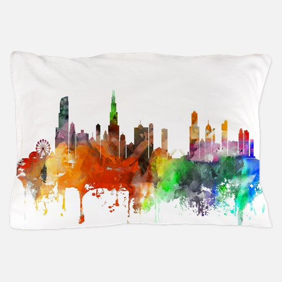 Chicago Skyline Watercolor Pillow Case
