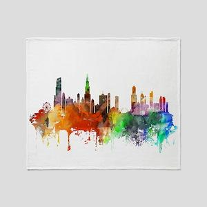 Chicago Skyline Watercolor Throw Blanket