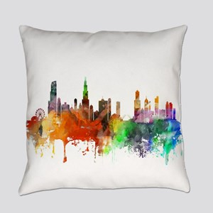 Chicago Skyline Watercolor Everyday Pillow