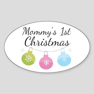 Mommy's 1st Christmas Sticker (Oval)