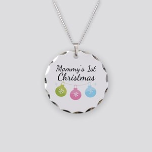 Mommy's 1st Christmas Necklace Circle Charm