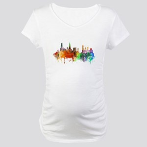 Chicago Skyline Watercolor Maternity T-Shirt