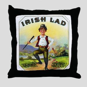 Irish Lad Cigar Label Throw Pillow