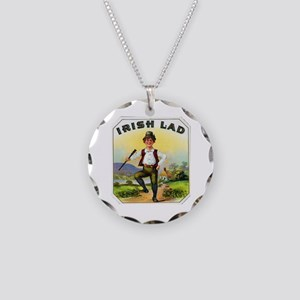 Irish Lad Cigar Label Necklace Circle Charm