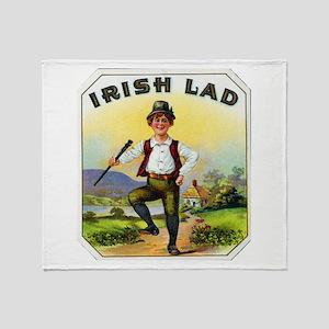 Irish Lad Cigar Label Throw Blanket