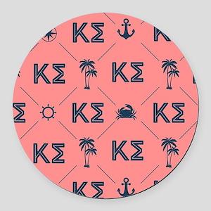 Kappa Sigma Coral Pattern Round Car Magnet