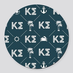 Kappa Sigma Blue Pattern Round Car Magnet