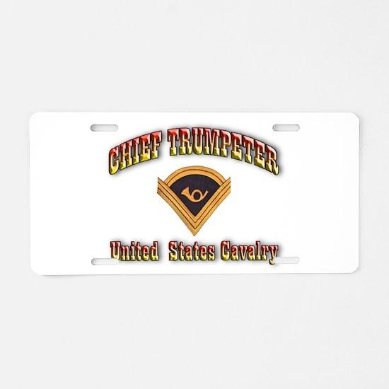 Chief Trumpeter Aluminum License Plate