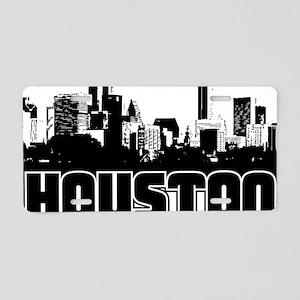 Houston Skyline Aluminum License Plate