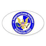 ICE in blue Oval Sticker
