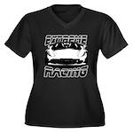 Racer Women's Plus Size V-Neck Dark T-Shirt