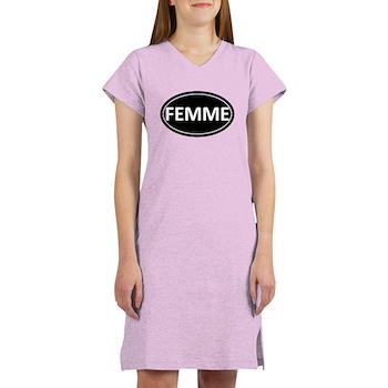 FEMME Black Euro Oval Women's Nightshirt