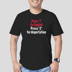 Press 1 for English Men's Fitted T-Shirt (dark)