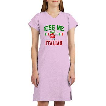 Kiss Me I'm Italian Women's Nightshirt
