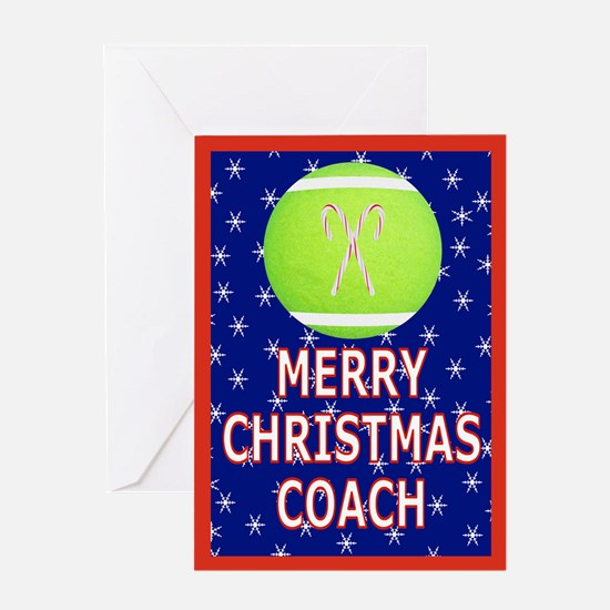 Christmas Tennis Coach Greeting Card