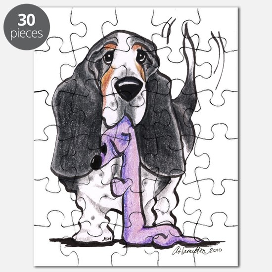 Tricolor Basset Playtime Puzzle