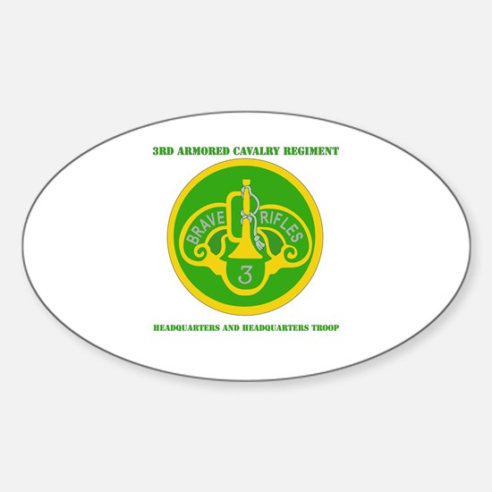 HQ and HQ Troop, 3rd ACR with Text Sticker (Oval)